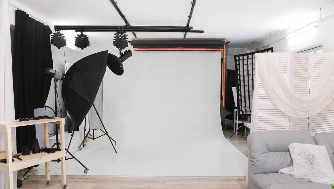 Empty photo studio with professional lighting equipment. interior