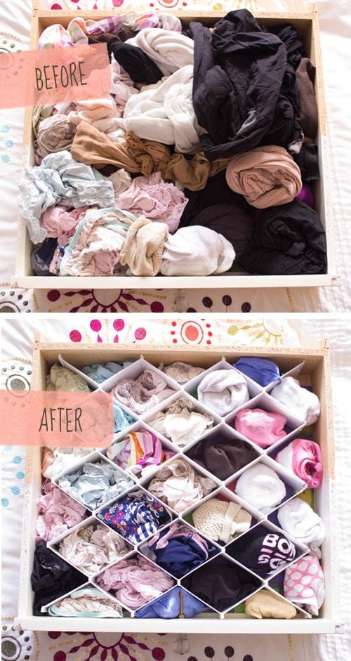 Underwear drawer before after